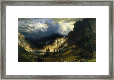A Storm In The Rocky Mountains Mt. Rosalie Framed Print by Albert Bierstadt