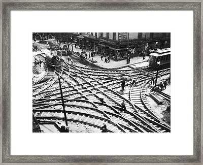 A Streetcar Intersection Framed Print by Underwood Archives
