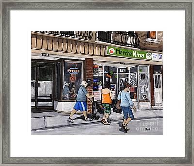 A Stroll Down Wellington Street In Verdun Framed Print by Reb Frost