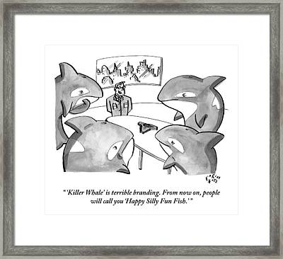 A Suited Man Speaks To A Group Of Killer Whales Framed Print by Farley Katz
