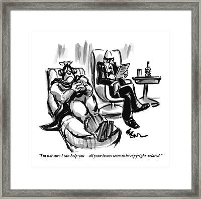 A Superhero Lays In A Chair Talking Framed Print by Lee Lorenz