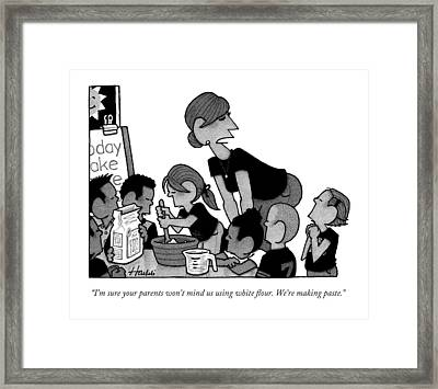 A Teacher Speaks To A Concerned Looking Boy Framed Print by William Haefeli
