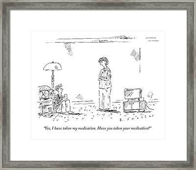 A Teenage Son Talks Back To His Mother Framed Print by Barbara Smaller
