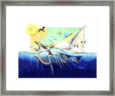 A Tern With The Dolphins Framed Print by David  Chapple