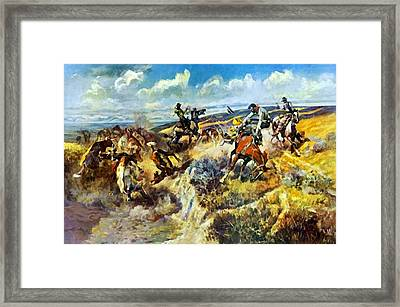 A Tight Dally And A Loose Latigo Framed Print by Charles Russell