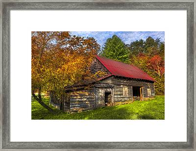 A Touch Of Red In Autumn Framed Print by Debra and Dave Vanderlaan