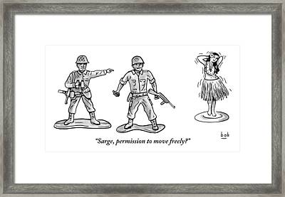 A Toy Soldier Addresses A Second Toy Soldier Framed Print by Bob Eckstein