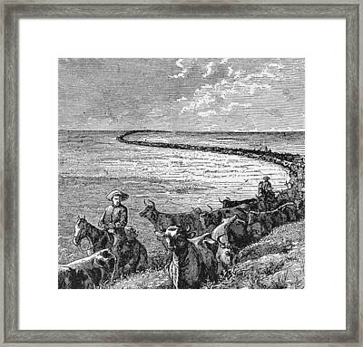 A Trail In The Great Plains, Illustration From Harpers Weekly, 1874, From The Pageant Of America Framed Print by American School
