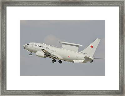 A Turkish Air Force Boeing 737 Aew Framed Print by Giovanni Colla