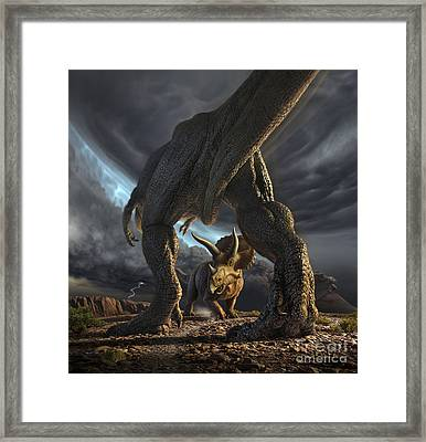A Tyrannosaurus Rex And Triceratops Framed Print by Jerry LoFaro