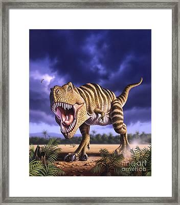 A Tyrannosaurus Rex Attacks, Lit Framed Print by Jerry LoFaro