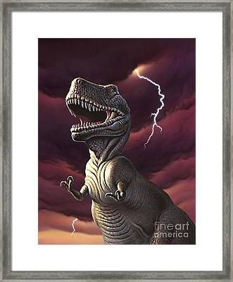 A Tyrannosaurus Rex With A Red Stormy Framed Print by Jerry LoFaro