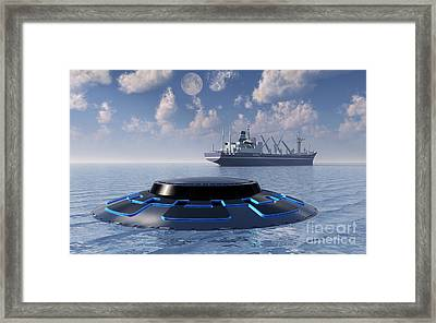 A Ufo Surfacing From Underwater Framed Print by Mark Stevenson