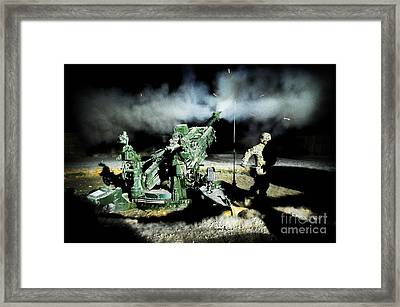 A United States Gun Crew Fire Illumination Rounds At Forward Operating Base Hadrian Framed Print by Paul Fearn