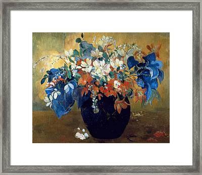 A Vase Of Flowers Framed Print by Paul Gauguin