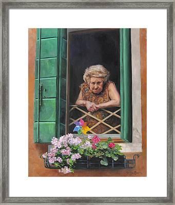 A Venetian Spectator Framed Print by Anna Rose Bain