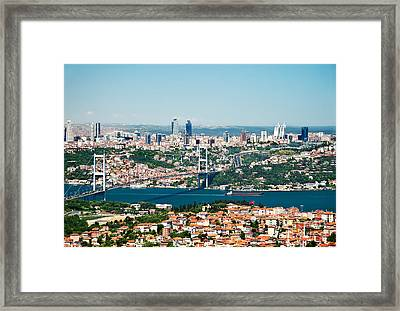 A View From Camlica Hill Towards Istanbul And The Bosphorus Brid Framed Print by Leyla Ismet