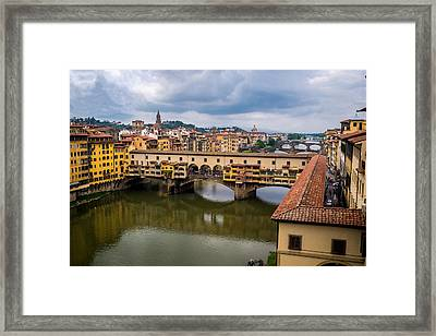 A View Of Ponte Vecchio From The Uffizi Framed Print by Arnaldo Torres