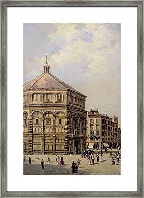 A View Of The Baptistry In Florence Framed Print by Antonietta Brandeis