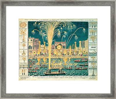 A View Of The Fireworks And Illuminations At His Grace The Duke Of Richmonds At Whitehall Framed Print by English School