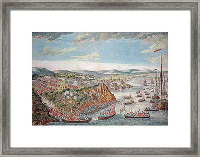 A View Of The Taking Of Quebec, September 13th 1759 Colour Engraving Framed Print by English School