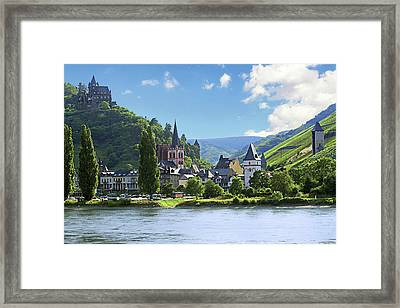 A View Of The Village Of Bacharach Framed Print by Miva Stock