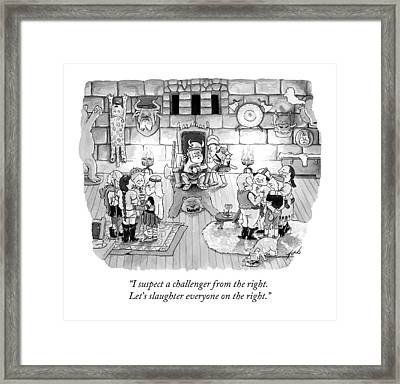 A Viking King Oversees A Social Gathering Framed Print by Tom Toro