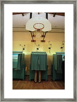 A Voting Booth In New Hampshire Framed Print by Dennis Brack