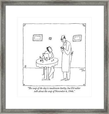 A Waiter Talks To A Restaurant Patron Framed Print by Liana Finck