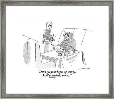 A Waitress Addresses A Man Sitting Framed Print by Mick Stevens