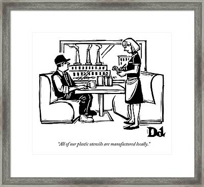 A Waitress At A Diner Talks To A Customer Framed Print by Drew Dernavich
