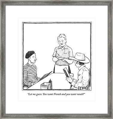 A Waitress Takes The Orders Of Two Men Framed Print by Matthew Diffee