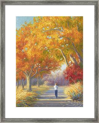 A Walk In The Fall Framed Print by Lucie Bilodeau