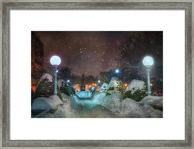 A Walk In The Snow - Boston Public Garden Framed Print by Joann Vitali