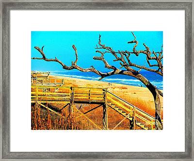 A Walk On Atlantic Beach Framed Print by Mj Carbo