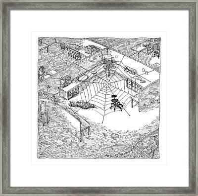 A Web Has Entangled A Man At His Cubicle Framed Print by John O'Brien