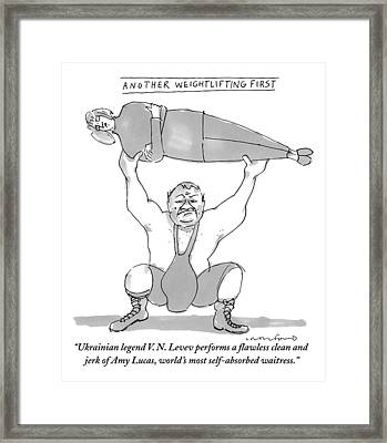 A Weightlifter Lifts A Woman Framed Print by Michael Crawford