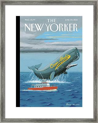 A Whale Advertises A Burger Shop Framed Print by Bruce McCall