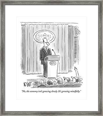 A White House Spokesman Addresses A Press Framed Print by Christopher Weyant