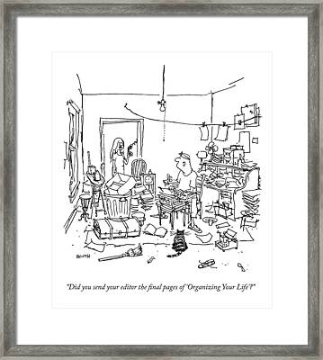 A Wife Asks Her Writer-husband Framed Print by George Booth
