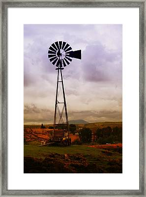 A Windmill And Wagon  Framed Print by Jeff Swan