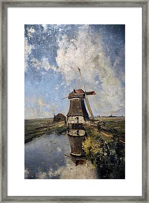 A Windmill On A Polder Waterway, Known As In The Month Of July, C. 1889, By Paul Joseph Constantin Framed Print by Bridgeman Images