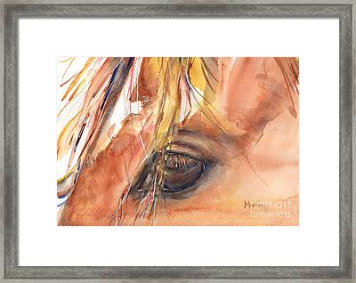 Horse Eye Painting A Wink Of The Eye Framed Print by Maria's Watercolor