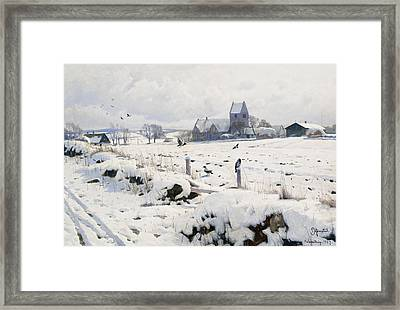 A Winter Landscape Holmstrup Framed Print by Peder Monsted