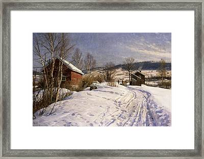 A Winter Landscape Lillehammer Framed Print by Peder Monsted