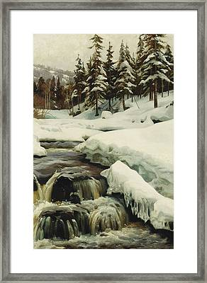 A Winter Landscape With A Mountain Torrent Framed Print by Peder Monsted