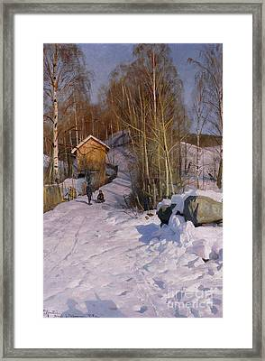 A Winter Landscape With Children Sledging Framed Print by Peder Monsted