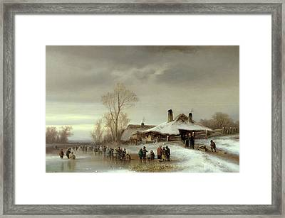 A Winter Landscape With Skaters Framed Print by Anton Doll