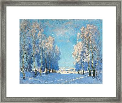 A Winter's Day Framed Print by Konstantin Ivanovich Gorbatov