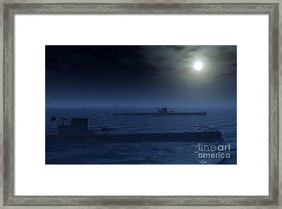 A Wolfpack Of German U-boat Submarines Framed Print by Mark Stevenson